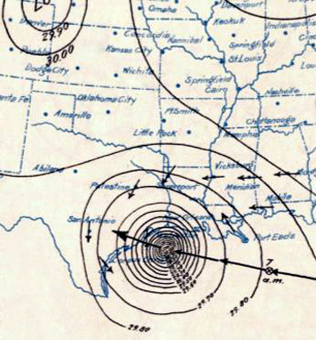 Reconstruction of the 1900 Hurricane making landfall at Galveston