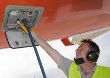 Drinking water fill point on the rear bottom side of the aircraft