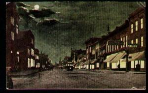 Main Street at Night, Racine, WI 1914.