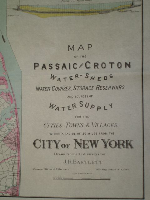 Map showing Bartlett Scheme to export Passaic River Water to New York City