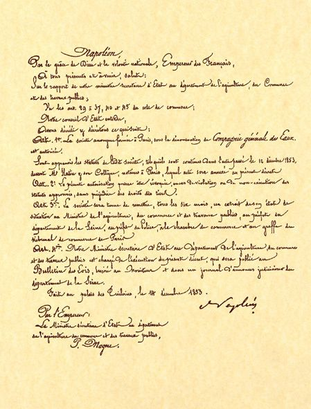 Imperial Decree from Napoleon III Establishing Compagnie Generale des Eaux