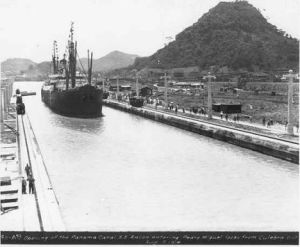 SS Ancon first official transit of the Panama Canal in 1914.  The Alexandre La Valley was an old French crane boat that made the first unofficial transit on 1/7/1914.