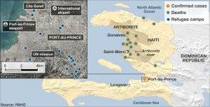 Map: Distribution of cholera cases in Haiti