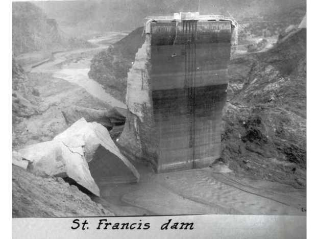 Portion of the St. Francis Dam after the catastrophic failure