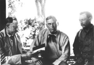 J.B. Lippincott, Fred Eaton and William Mulholland. This photograph appeared in the Los Angeles Times, August 6, 1906