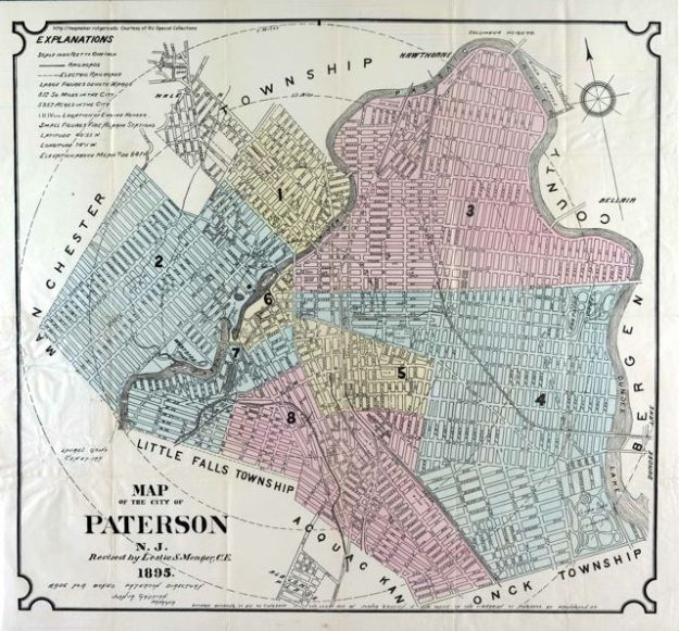 1895 Map of Paterson, NJ. Note how the Passaic River practically surrounds the city.