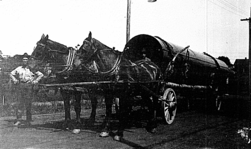 Horses Hauling Cast Iron Pipe for Akron Distribution System